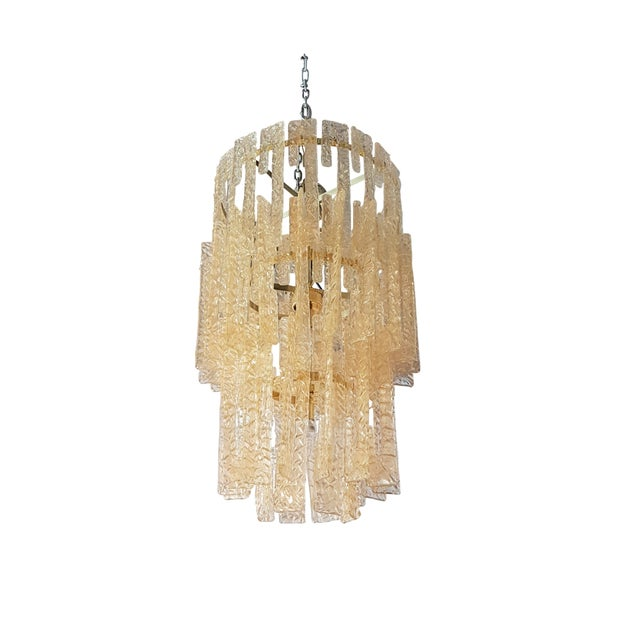 Mid century modern Mazzega gold hooks Murano interlocking glass elements chandelier - Image 7 of 7