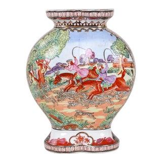 Vintage Hunt Scene Porcelain Double Vase For Sale