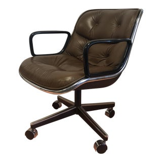 1982 Charles Pollock for Knoll Button Tufted Leather Executive Desk Chair For Sale
