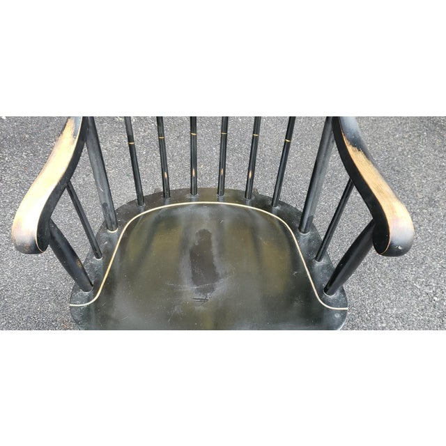 Country Vintage 1970s Black Hitchcock Style Painted Nichols & Stone Co. Rocking Chair Rocker For Sale - Image 3 of 11