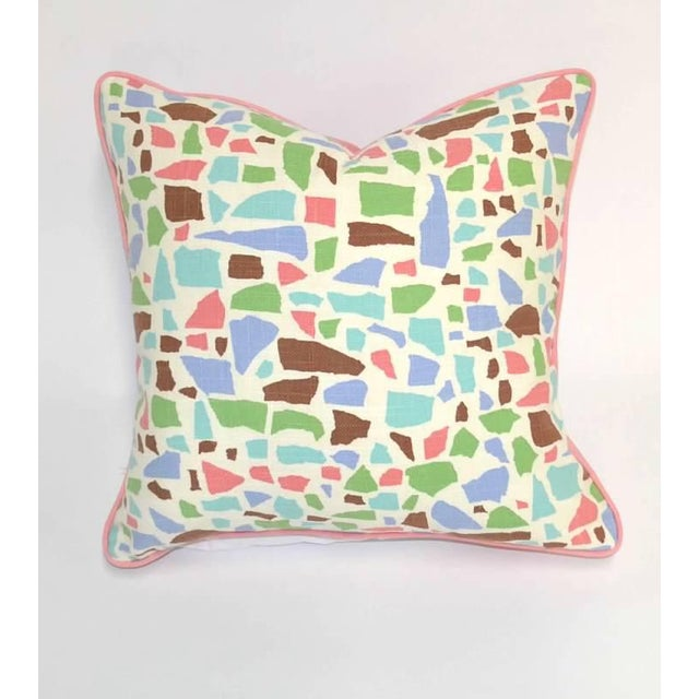 2020s Lulu Dk Duralee Pink Geometric Printed Multi-Colored Pillow For Sale - Image 5 of 5