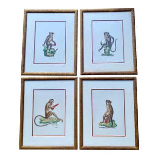 Set of 4 Chelsea House Hand Painted on Silk Monkey Paintings For Sale