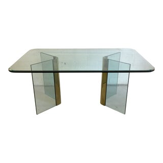 Pace Glass and Brass Dining Table Desk For Sale