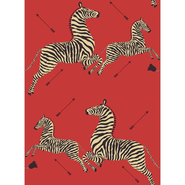 Red by Scalamandre Peel & Stick Wallpaper, Zebras, Masai Red For Sale