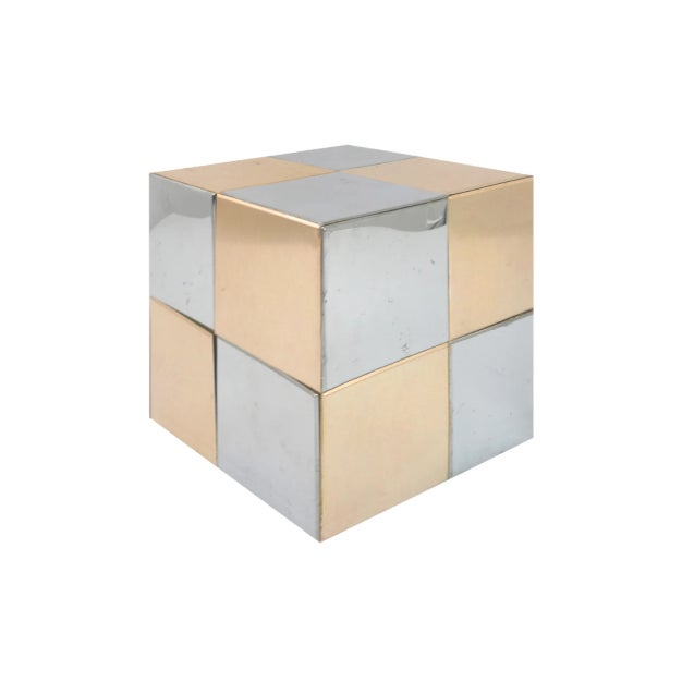Mid-Century Modern Paul Evans Style Mixed Metal Cube For Sale - Image 3 of 3