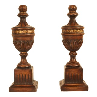 Hand Carved Wood Urns - a Pair For Sale
