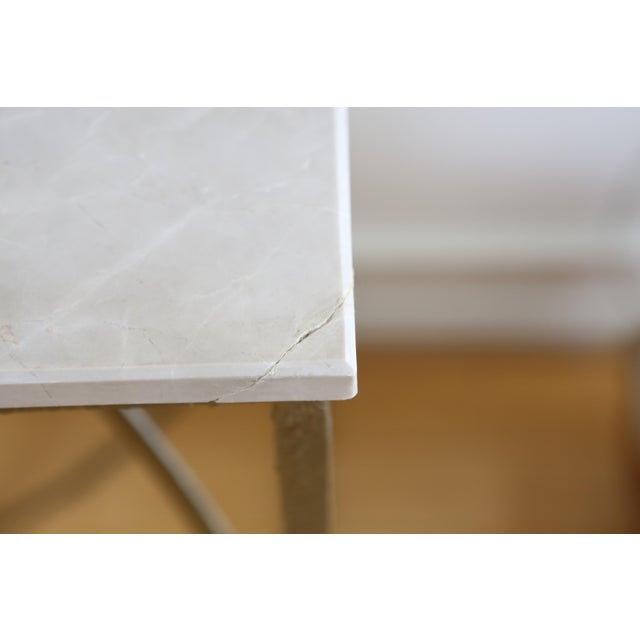 Modern Geometric Gold Iron White Marble Console Table For Sale In Los Angeles - Image 6 of 7