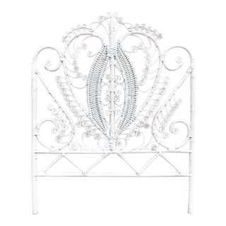 Vintage White Wicker Peacock Headboard For Sale