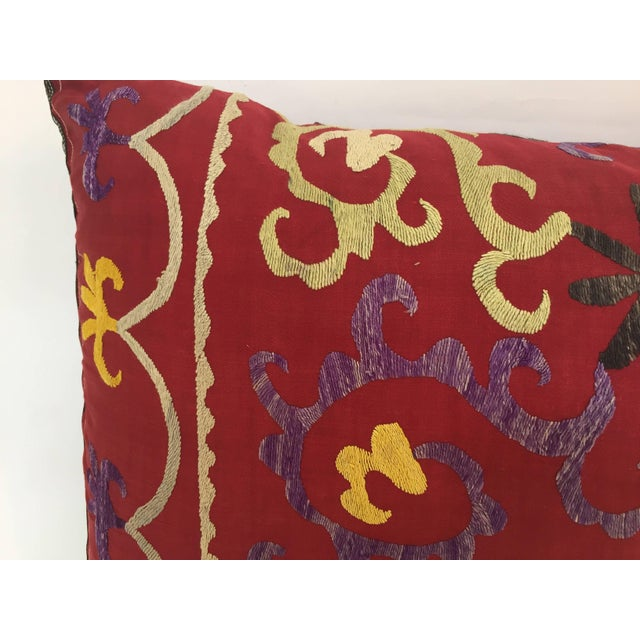 Cotton Large Vintage Colorful Suzani Embroidery Throw Pillow From Uzbekistan For Sale - Image 7 of 13