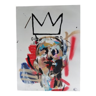 Basquiat Style Abstract Acrylic Painting by Melo For Sale