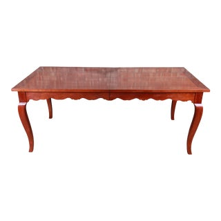 French Provincial Solid Cherry Extension Dining Table by Wright Table Company For Sale