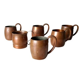 Vintage Copper Mugs - Set of 6 For Sale