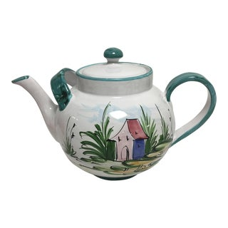 Hand Painted Italian Tea Pot For Sale