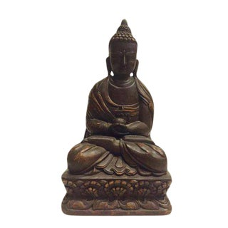 "Mid Century Wood Buddha Nepal Hand Carved Buddhist Temple Statue 15"" For Sale"