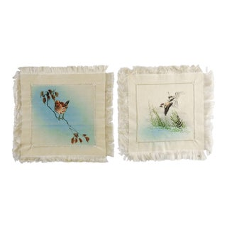 Vintage Chinese Painted Silk Coasters - Set of 7 For Sale