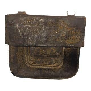 African Hand Tooled Leather Tribal Shoulder Bag For Sale