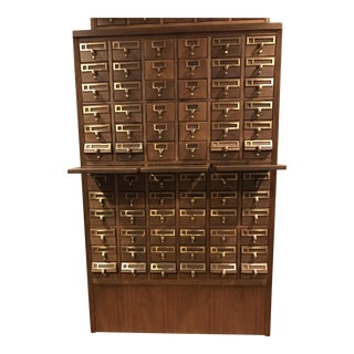 Vintage Hand Crafted 72-Drawer Card Catalog For Sale