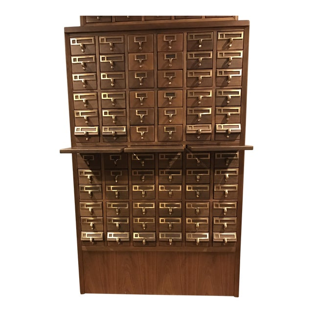 Vintage Hand Crafted 72-Drawer Card Catalog - Image 1 of 5