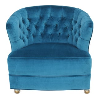 1940s Vintage Tufted Velvet Chair For Sale