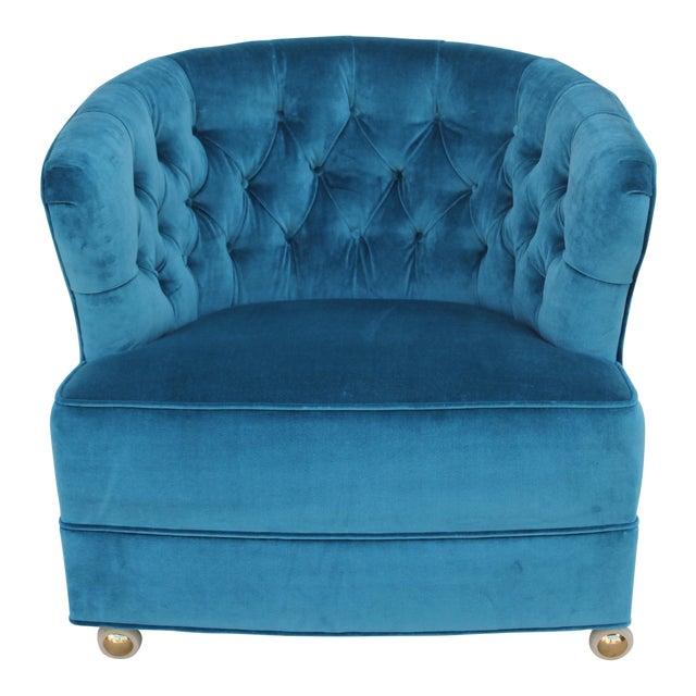 Tufted Velvet Bucket Chair For Sale