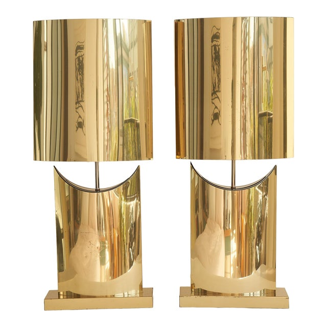 Monumental Curtis Jere Brass Lamps - a Pair For Sale