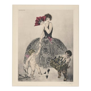 Matted Art Deco 1926 Champagne Lithograph Signed Louis Icart For Sale