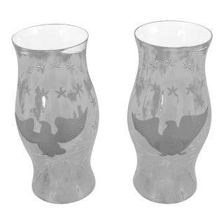 Eagle Etched Glass Large Hurricane Globes - a Pair
