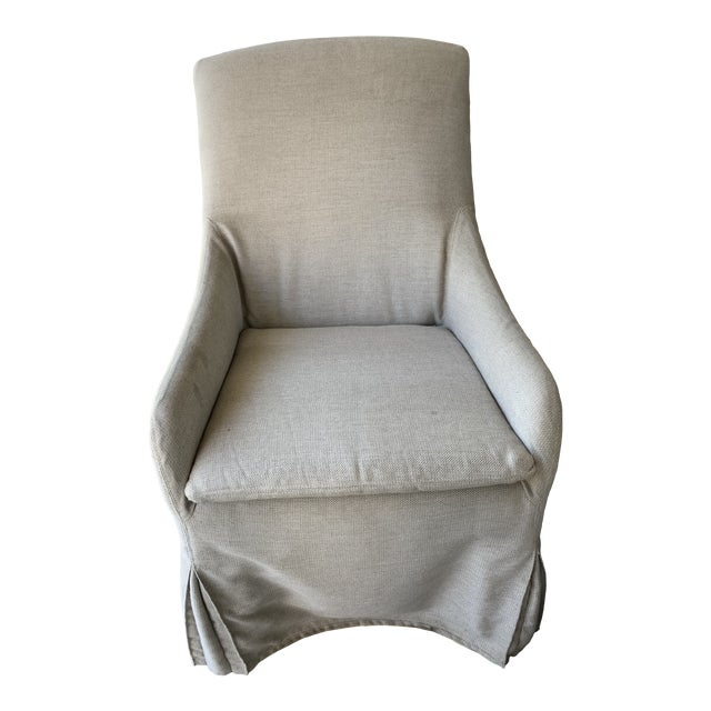 Lee Outdoor Slipcovered Chair on Casters For Sale