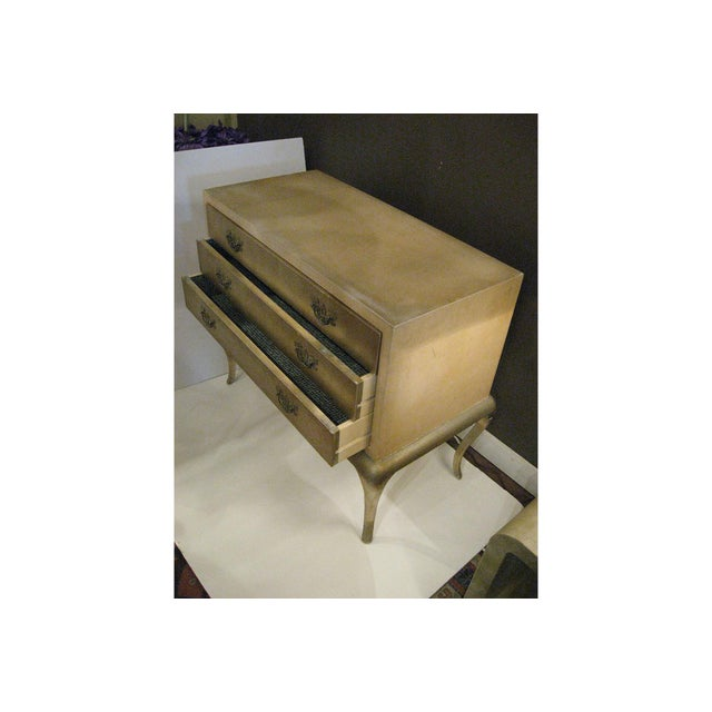 Cream and champagne gilt wood commode with sexy cabriole legs. Great for entrance hallway, console, small sideboard, re-...