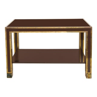 1960s Gabriella Crespi Brown Lacquer and Brass Inlaid Table For Sale