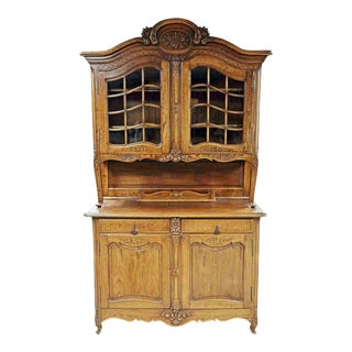 French Country Buffet a Deux Corps Hutch For Sale