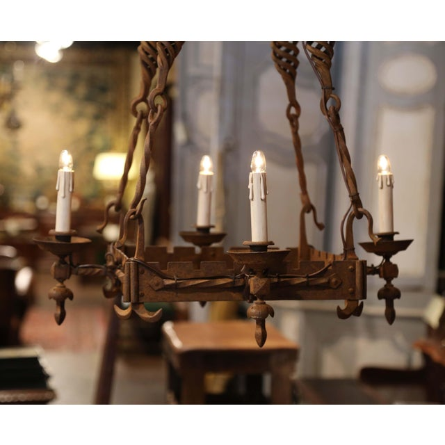 Mid 19th Century 19th Century French Gothic Square Wrought Iron Four-Light Chandelier For Sale - Image 5 of 9