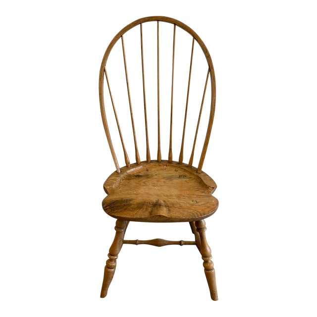 Early 20th Century American Antique Oak Windsor Side Chair For Sale