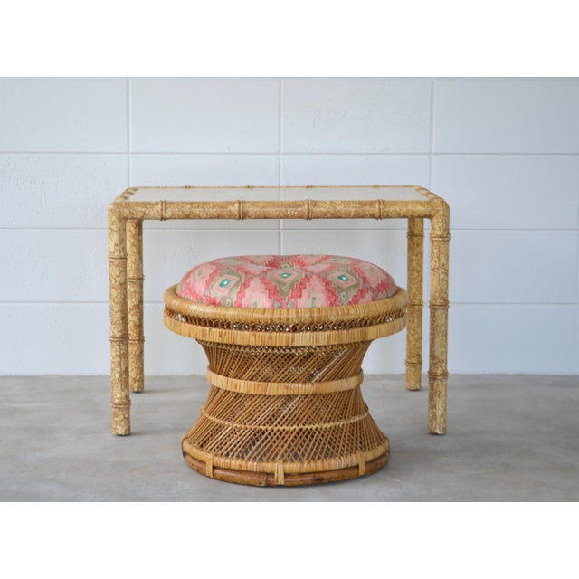 Mid-Century Woven Rattan Stool For Sale - Image 9 of 10