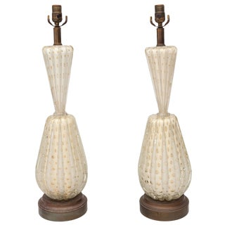 Pair of Barovier & Toso Bubble Lamps For Sale
