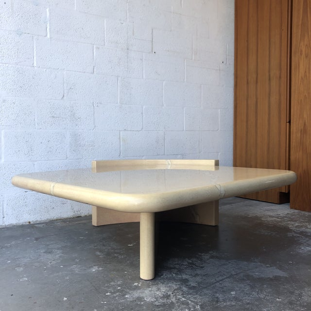 Vintage 1980s Post-Modern Bullnose Lacquered Coffee Table Wonderfully crafted, this Unique Postmodern Table features an...