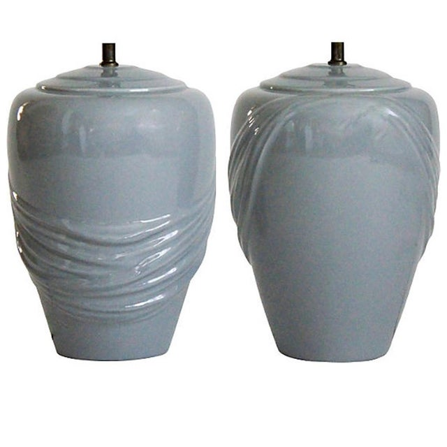 Mid 20th Century Vintage Draped Gray Lamps - A Pair For Sale - Image 5 of 6