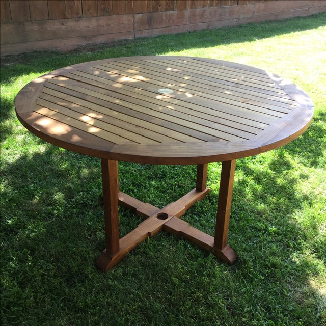 Outdoor Round Teak Table - Image 3 of 4