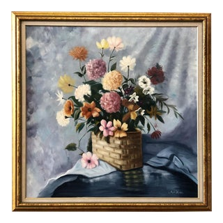 Vintage 1970s Square Floral Painting by Angelo Hazifotis For Sale