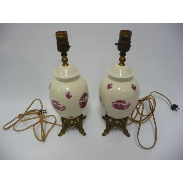 Semi-Porcelain Victorian-Style Table Lamps - A Pair - Image 2 of 7