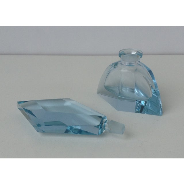 Czechoslovakian Light Blue Faceted Perfume Bottle - Image 11 of 11