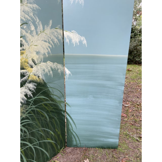 Sky Blue Pair Late 20th C. Hand-Painted Screens - Coastal Landscape For Sale - Image 8 of 13