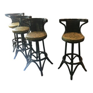 1950's Med-Century Solid Rattan Bamboo Tiki Bar & Stools For Sale