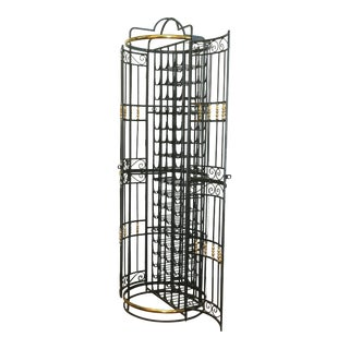 Wrought Iron and Brass Accent Wine Rack For Sale