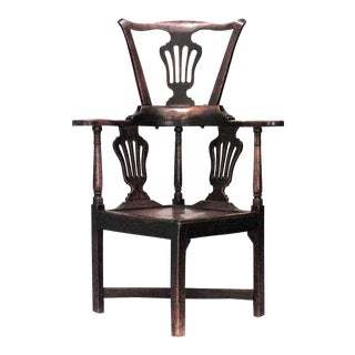 English Country Yew Wood Arm Chair For Sale