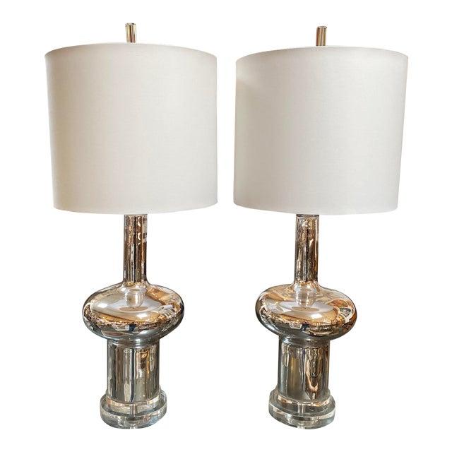 New Cyan Design Moonraker Nickel Table Lamp - a Pair For Sale