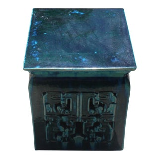Chinese Ceramic Square Turquoise Green RuYi Garden Stand Table For Sale