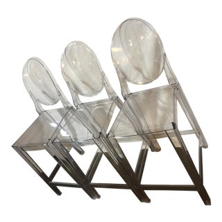 Mid Century Modern Ghost Kartell Bar Stools - Set of 3 For Sale