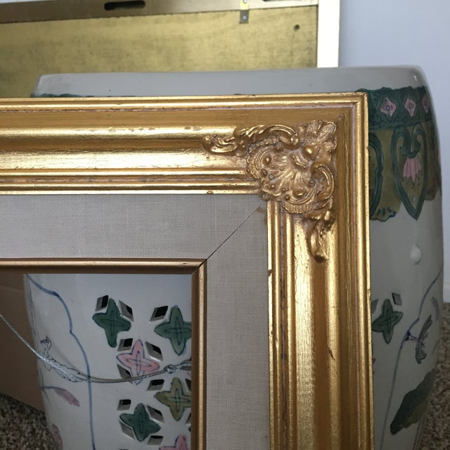 A French gold Baroque style frame. Linen matted. Sturdy, but with plenty of shabby stylish chicness. French Gilt filigree...