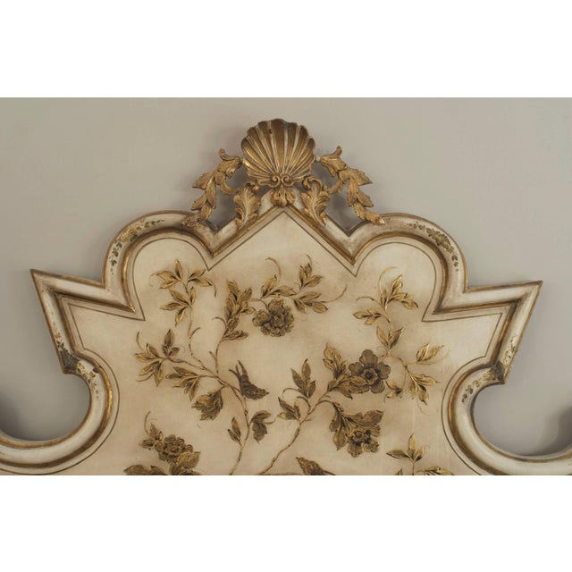 Italian Venetian style (1950s) antique cream painted shaped headboard (only) with gilt floral leaf decoration with a gilt...